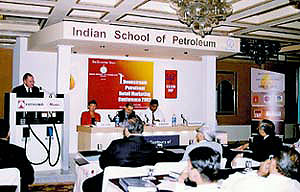 Franz Ehrhardt speaking at the Indian School of Petroleum.